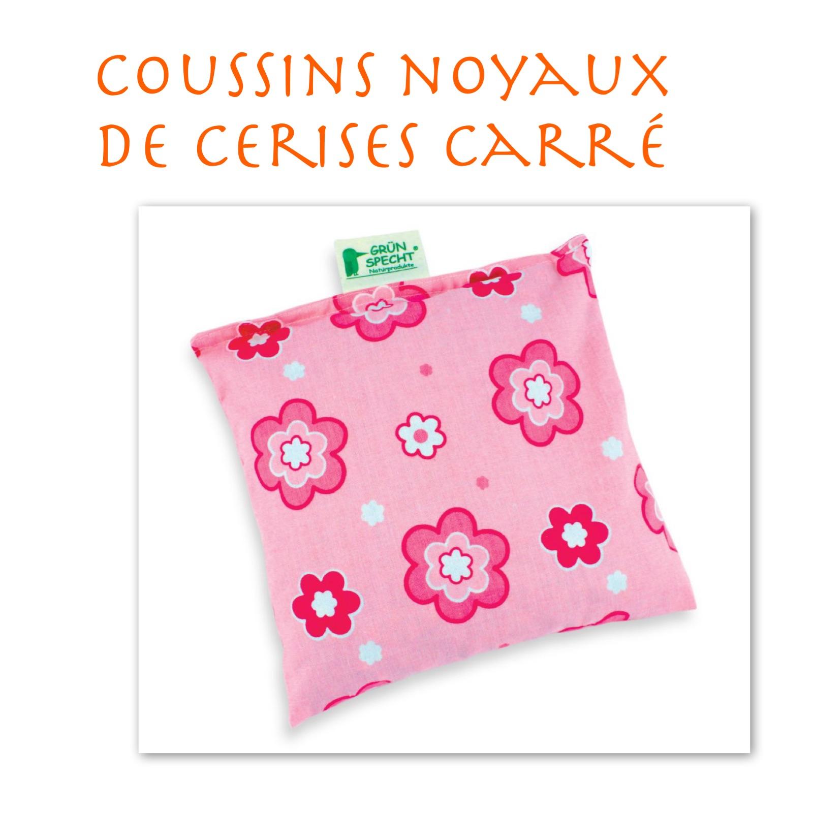 Coussin noyaux cerises carré